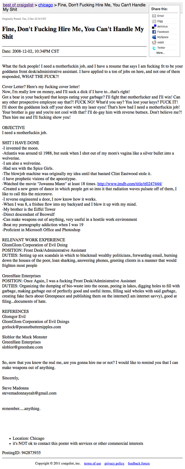 What your resume looks like once you've had a complete nervous breakdown