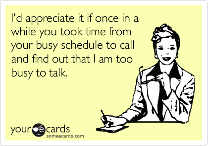 someecards.com - I'd appreciate it if once in a while you took time from your busy schedule to call and find out that I am too busy to talk.