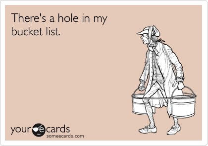 someecards.com - There's a hole in my bucket list.