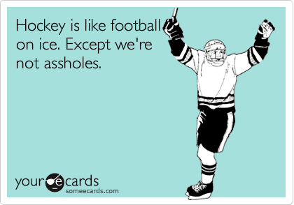 someecards.com - Hockey is like football on ice. Except we're not assholes.