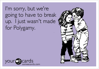 someecards.com - I'm sorry, but we're going to have to break up. I just wasn't made for Polygamy.