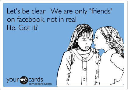 Funny Friendship Ecard: Let's be clear. We are only 'friends' on facebook, not in real life. Got it?