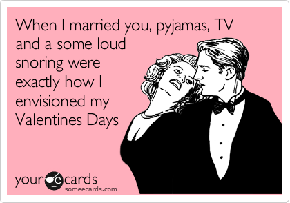 someecards.com - When I married you, pyjamas, TV and a some loud snoring were exactly how I envisioned my Valentines Days