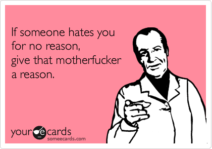 someecards.com - If someone hates you for no reason, give that motherfucker a reason.