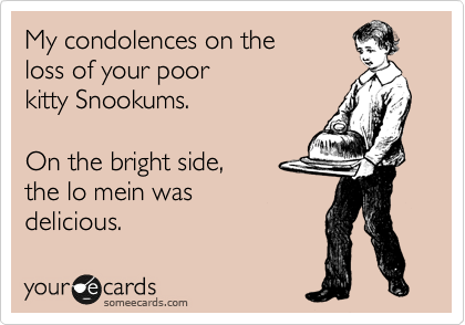 someecards.com - My condolences on the loss of your poor kitty Snookums. On the bright side, the lo mein was delicious.