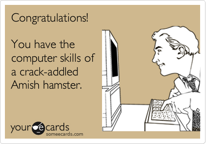 someecards.com - Congratulations! You have the computer skills of a crack-addled Amish hamster.