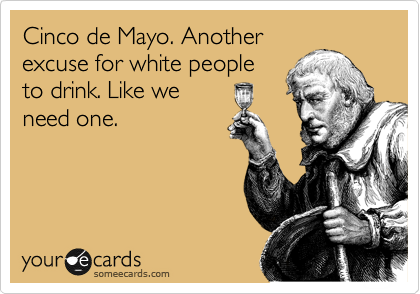 someecards.com - Cinco de Mayo. Another excuse for white people to drink. Like we need one.
