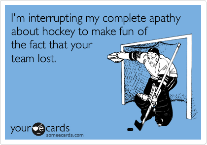 someecards.com - I'm interrupting my complete apathy about hockey to make fun of the fact that your team lost.