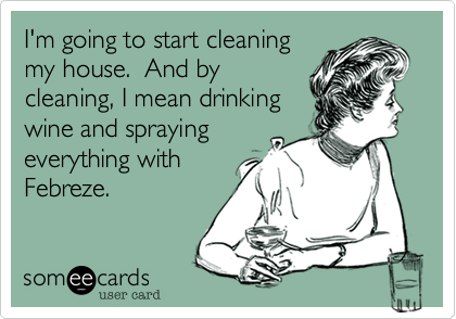 someecards.com - I'm going to start cleaning my house. And by cleaning, I mean drinking wine and spraying everything with Febreze.