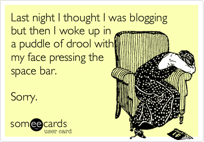 someecards.com - Last night I thought I was blogging but then I woke up in a puddle of drool with my face pressing the space bar. Sorry.