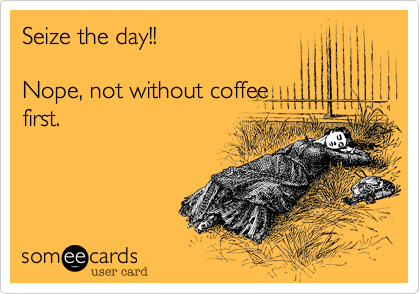 someecards.com - Seize the day!! Nope, not without coffee first.