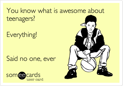 Funny Family Ecard: You know what is awesome about teenagers? Everything! Said no one, ever.