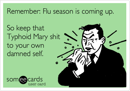 someecards.com - Remember: Flu season is coming up. So keep that Typhoid Mary shit to your own damned self.