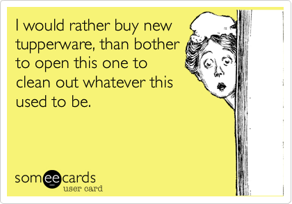 someecards.com - I would rather buy new tupperware, than bother to open this one to clean out whatever this used to be.