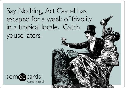 someecards.com - Say Nothing, Act Casual has escaped for a week of frivolity in a tropical locale. Catch youse laters.
