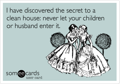 Funny Family Ecard: I have discovered the secret to a clean house: never let your children or husband enter it.