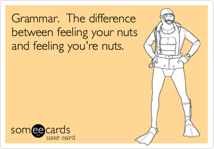 Funny Somewhat Topical Ecard: Grammar. The difference between feeling your nuts and feeling you're nuts.
