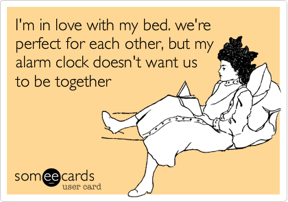 "What Mandy Thinks: Image of an ecard: ""I'm in love with my bed, we're perfect for each other, but my alarm clock doesn't want us to be together. (source: someecards.com)"""