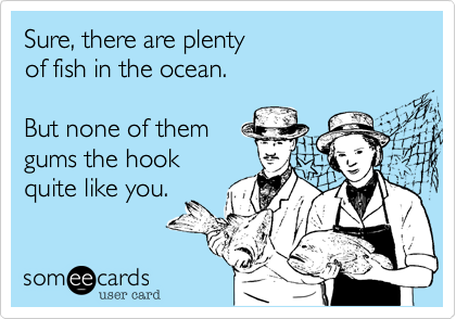 someecards.com - Sure, there are plenty of fish in the ocean. But none of them gums the hook quite like you.
