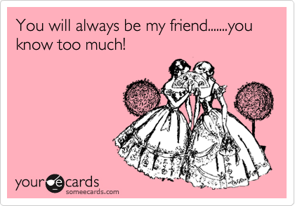 someecards.com - You will always be my friend.......you know too much!
