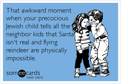 someecards.com - That awkward moment when your precocious Jewish child tells all the neighbor kids that Santa isn't real and flying reindeer are physically impossible.