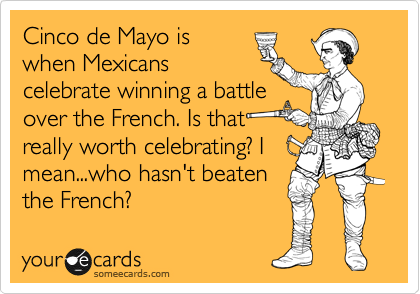 someecards.com - Cinco de Mayo is when Mexicans celebrate winning a battle over the French. Is that really worth celebrating? I mean...who hasn't beaten the French?
