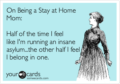 someecards.com - On Being a Stay at Home Mom: Half of the time I feel like I'm running an insane asylum...the other half I feel I belong in one.