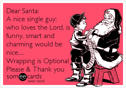 someecards.com - Dear Santa: A nice single guy; who loves the Lord, is funny, smart and charming would be nice..... Wrapping is Optional Please & Thank you
