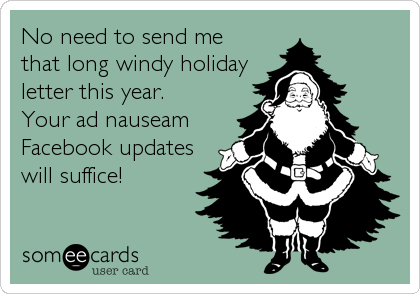 someecards.com - No need to send me that long windy holiday letter this year. Your ad nauseam Facebook updates will suffice!