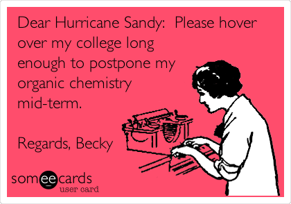 Funny Cry for Help Ecard: Dear Hurricane Sandy: Please hover over my college long enough to postpone my organic chemistry mid-term. Regards, Becky.