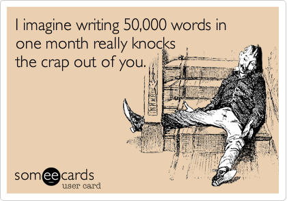 someecards.com - I imagine writing 50,000 words in one month really knocks the crap out of you.