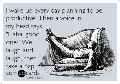 someecards.com - I wake up every day planning to be productive. Then a voice in my head says