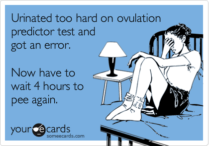 someecards.com - Urinated too hard on ovulation predictor test and got an error. Now have to wait 4 hours to pee again.