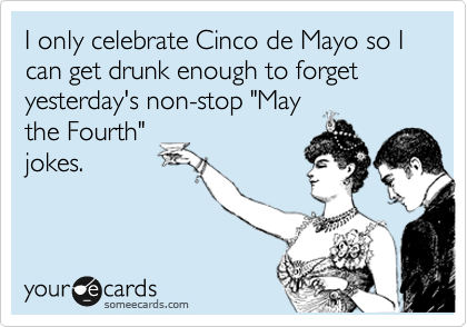 someecards.com - I only celebrate Cinco de Mayo so I can get drunk enough to forget yesterday's non-stop