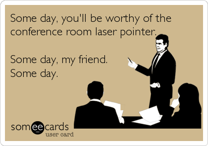 someecards.com - Some day, you'll be worthy of the conference room laser pointer. Some day, my friend. Some day.