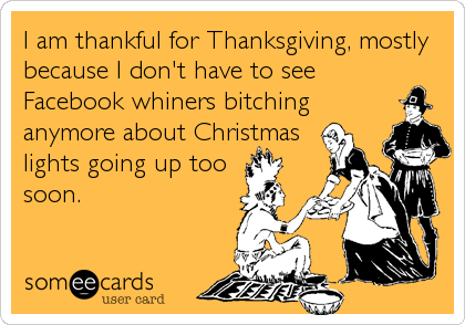 someecards.com - I am thankful for Thanksgiving, mostly because I don't have to see Facebook whiners bitching anymore about Christmas lights going up too soon.