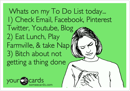 someecards.com - Whats on my To Do List today... 1) Check Email, Facebook, Pinterest Twitter, Youtube, Blog 2) Eat Lunch, Play Farmville, & take Nap 3) Bitch about not getting a thing done