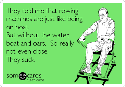 someecards.com - They told me that rowing machines are just like being on boat. But without the water, boat and oars. So really not even close. They suck.