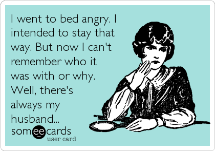 someecards.com - I went to bed angry. I intended to stay that way. But now I can't remember who it was with or why. Well, there's always my h