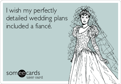 someecards.com - I wish my perfectly detailed wedding plans included a fiancé.