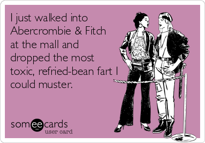 someecards.com - I just walked into Abercrombie & Fitch at the mall and dropped the most toxic, refried-bean fart I could muster.