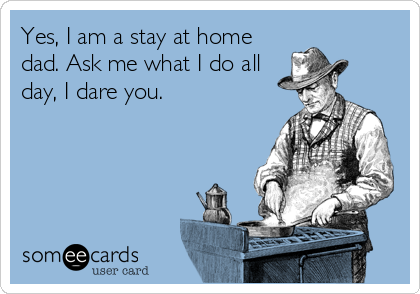someecards.com - Yes, I am a stay at home dad. Ask me what I do all day, I dare you.