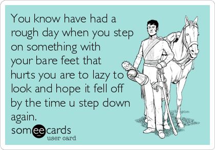 someecards.com - You know have had a rough day when you step on something with your bare feet that hurts you are to lazy to look and hope it fell off by the time u step down again.