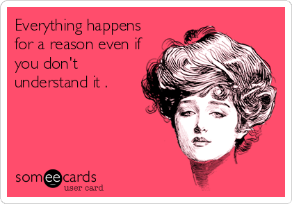 someecards.com - Everything happens for a reason even if you don't understand it .