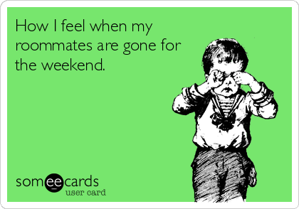 Funny Friendship Ecard: How I feel when my roommates are gone for the weekend.