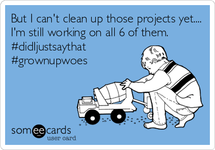 someecards.com - But I can't clean up those projects yet.... I'm still working on all 6 of them. #didIjustsaythat #grownupwoes