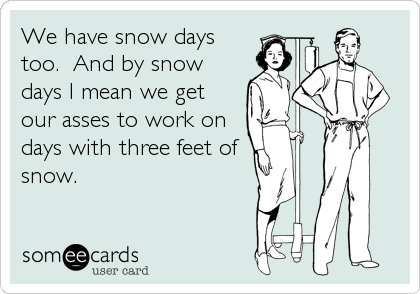 someecards.com - We have snow days too. And by snow days I mean we get our asses to work on days with three feet of snow.
