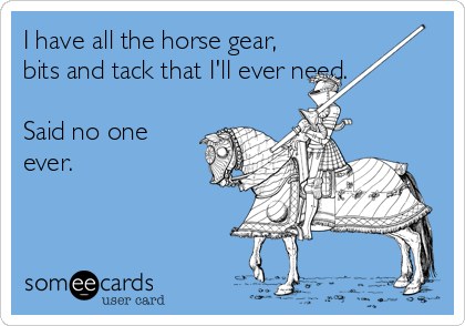 Funny Confession Ecard: I have all the horse gear, bits and tack that I'll ever need. Said no one ever.