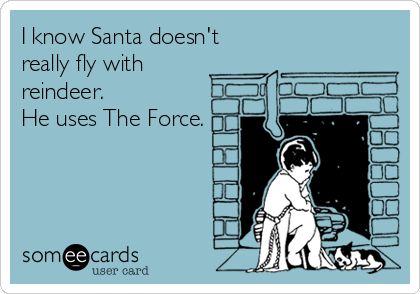 someecards.com - I know Santa doesn't really fly with reindeer. He uses The Force.