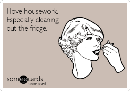 someecards.com - I love housework. Especially cleaning out the fridge.